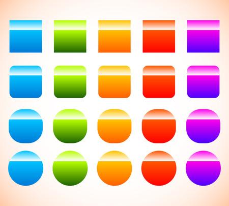 Colorful button, banner shape set