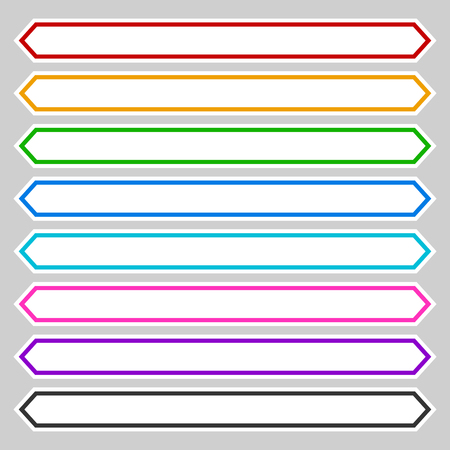 octagonal: 8 color octagonal button   banner shape. Colorful button, banner, tag, label template for your message