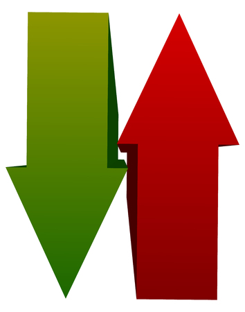 opposite: Green red up down arrow icon(s). Vertical arrows in opposite direction