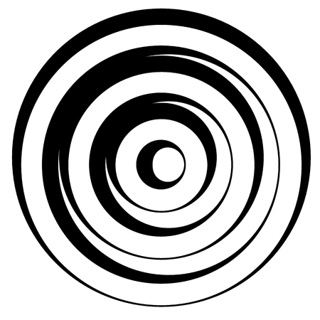 sonic: Concentric circles w dynamic irregular line. monochrome abstract spiral, ripple element