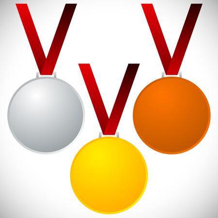 neckband: Medals on neckband - Gold silver bronze medals, awards