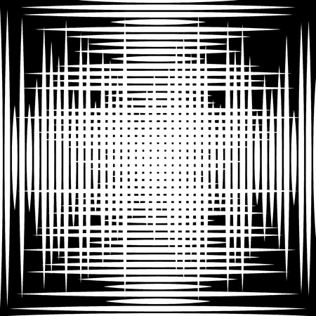 grating: Asymmetric grid mesh pattern. irregular monochrome abstract texture
