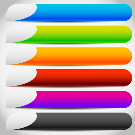 Colorful buttons, banners with side tabs. Empty button backgrounds. Illustration