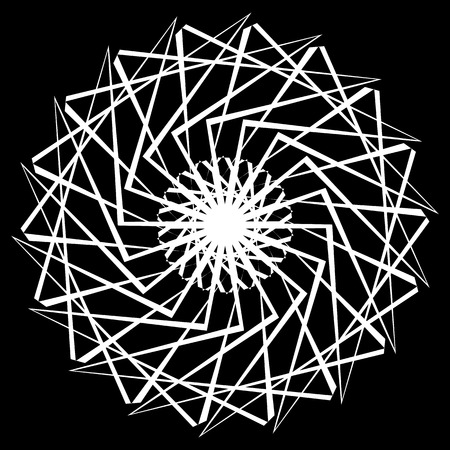 gyration: Geometric spiral element on white. Abstract monochrome motif