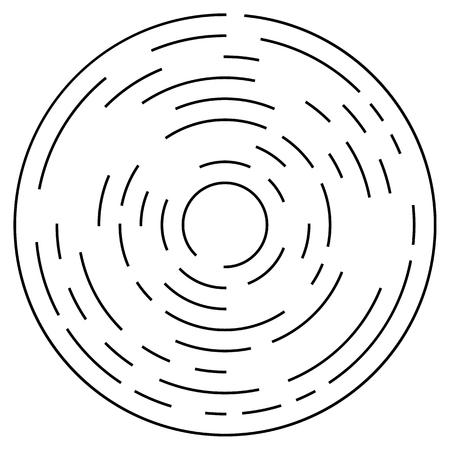 Random concentric segmented circles. Circular geometric element. Illustration