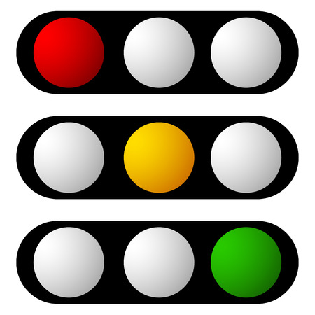 Set of traffic lamp, traffic light, semaphore icons
