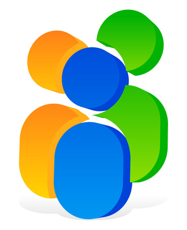 teammates: Icon with 3 human pictograms - Colorful 3d icon for partnership, company, social concepts Illustration