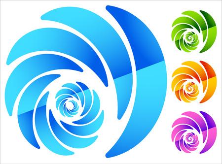 4 つの鮮やかな色でカラフルな円形のスパイラルのような要素