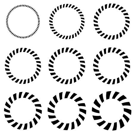uploading: Geometric circle elements in 9 thickness. Monochrome circle shapes Illustration