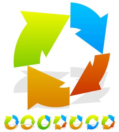 Set of 7 colorful circular arrow icon Vector Illustration