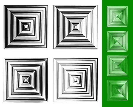 blip: Concentric squares geometric element. Set of 4 version.