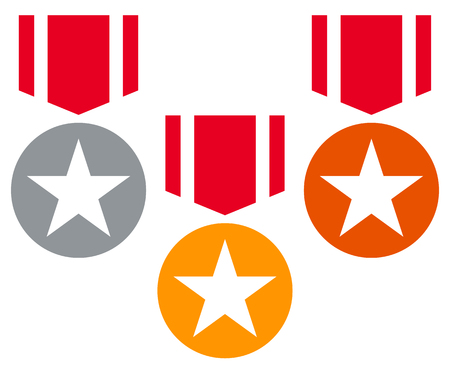 Gold, silver, bronze medals with neckband  ribbon - Flat medal, badge icons w stars