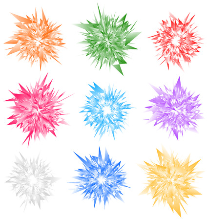 splinter: Edgy radial geometric element(s). Colorful abstract illustration
