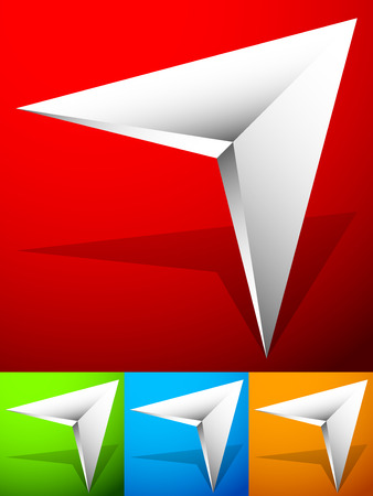 bevel: Sharp edgy 3d arrow icon in more color with bevel effect
