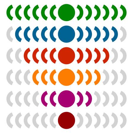 Horizontal progress, level indicators in sequence - Progress indicators isolated on white