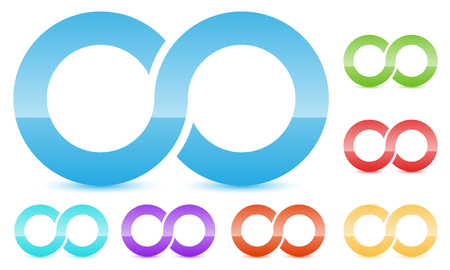 Infinity symbol in several color. Icon for continuity, loop, endless concepts. Illustration