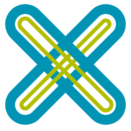 unchecked: Abstract cross, X shape, letter symbol with intersecting lines with colors matching medical concepts Illustration