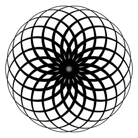 Circular geometric spiral. Abstract monochrome design element Illustration