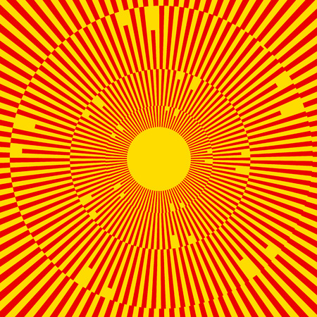 Illustration with rays, beams, radial - radiating lines. Abstract circular pattern