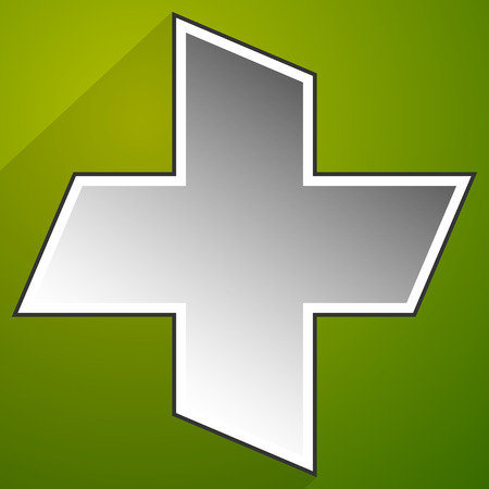 green cross: Green cross for health-care, medical or first aid concept