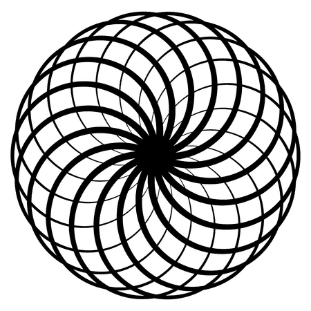 Circular geometric spiral. Abstract monochrome design element Illustration