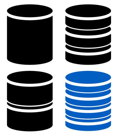 barel: Different barrel (cylinder) shape symbol, icon set Illustration
