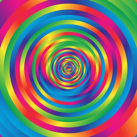 radius: Concentric colorful spiral w random circles. Abstract circular pattern.