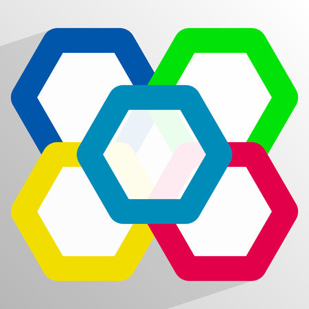 Geometrisch pictogram met overlappende hexagons in 5 kleuren