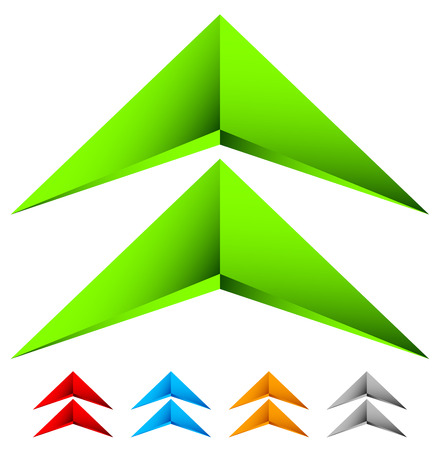 Sharp edgy 3d arrow icon in more color with bevel effect