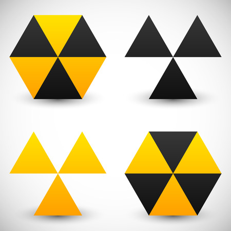 radioisotope: Set of geometric radiation sign icons. 4 version.