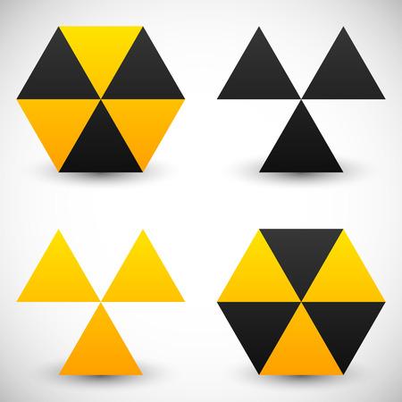 radiation sign: Set of geometric radiation sign icons. 4 version.