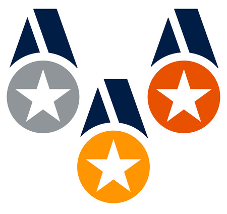 neckband: Gold, silver, bronze medals with neckband  ribbon - Flat medal, badge icons w stars