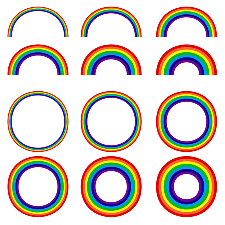 halved: Different rainbow shapes. Set of 12 element.