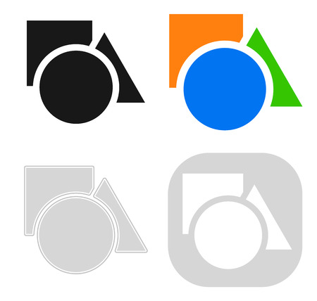 Circle, square, triangle icon in 4 version - Basic shapes icon,