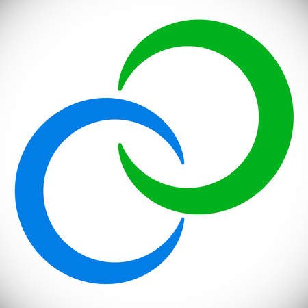 Interlocking circles rings. Abstract  element in blue and green
