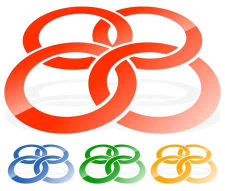 Enclavamiento círculos, anillos abstracto icono. concepto de icono de conexión Vectores