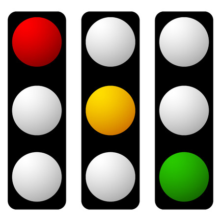 Set of traffic lamp, traffic light, semaphore icons