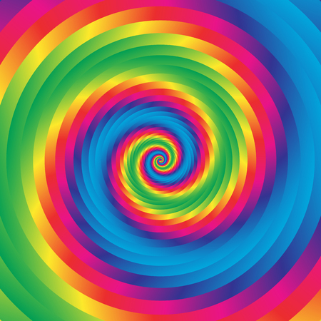 curl whirlpool: Concentric colorful spiral w random circles. Abstract circular pattern.