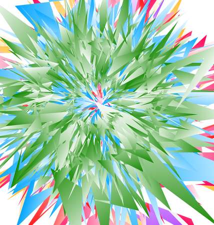 Edgy radial geometric element(s). Colorful abstract illustration