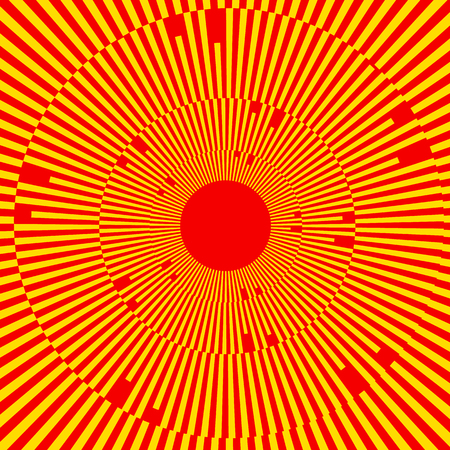radiacion solar: Illustration with rays, beams, radial - radiating lines. Abstract circular pattern
