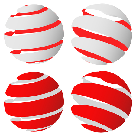 3d abstract striped sphere in four version