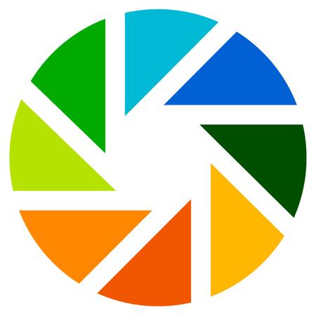 Aperture like symbol. Circular icon with lamellas
