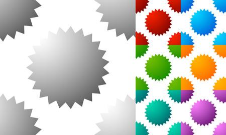 Pattern  background set with badge, starburst-like shapes. Set of 7 color