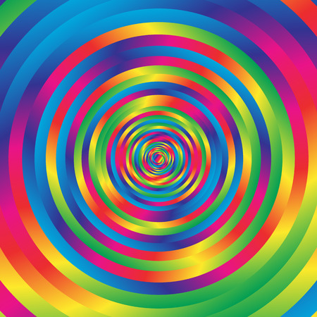 Concentric colorful spiral w random circles. Abstract circular pattern.