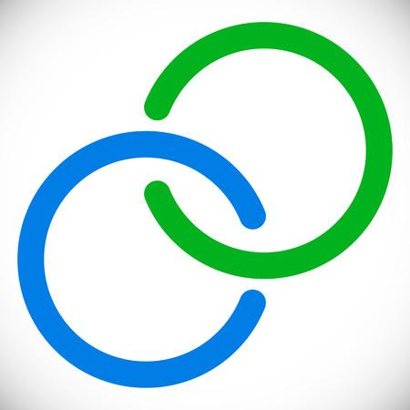Anillos entrelazados círculos. Elemento abstracto en azul y verde
