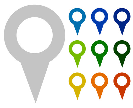map marker, map pin icons in more color Illustration