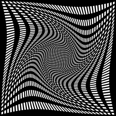 Distorted abstract monochrome pattern of asymmetric  irregular lines