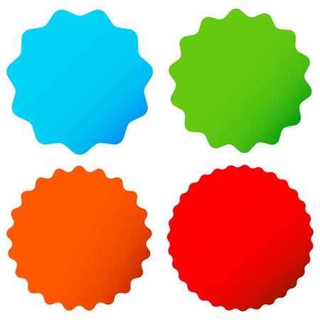 Different starburst / sunburst badges, shapes in 4 color Vetores