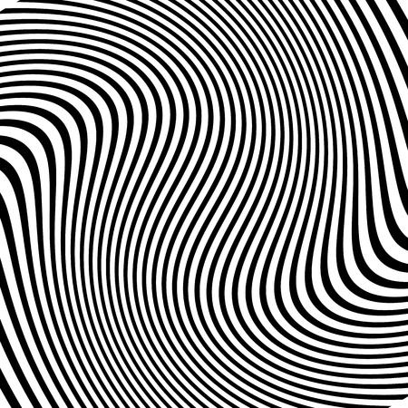 Modelo monocromático abstracto distorsionada de líneas asimétricas / irregulares Ilustración de vector