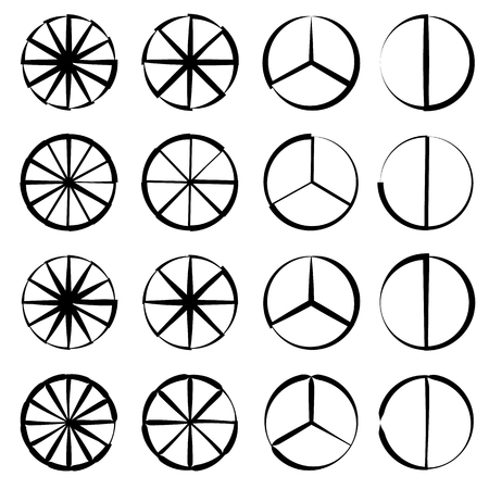 segmented: Segmented circle - Pie chart, pie graph outline set